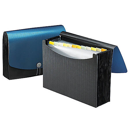 """Smead® Poly Frequency Expanding File, 12 Pockets, 9 1/2"""" x 13"""", Black/Blue"""