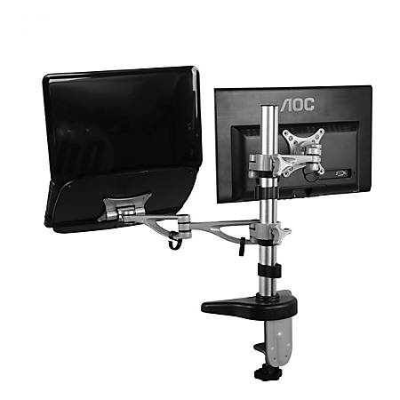 "Loctek MA2 Monitor And Laptop Desk Mount, 20""H x 16-1/2""W x 10""D, Silver"