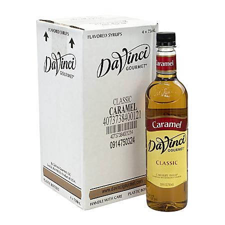 DaVinci Gourmet Syrup, Caramel, 25.36 Oz, Pack Of 4 Bottles