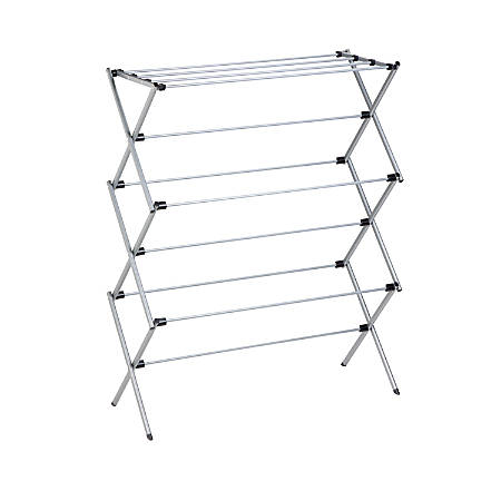 """Honey-Can-Do Deluxe Oversize Metal Drying Rack, 45 1/2""""H x 14 1/2""""W x 35 1/2""""D, Silver"""