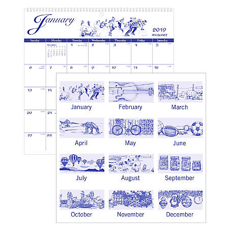 "AT-A-GLANCE® Illustrator's Edition Monthly Wall Calendar, 12"" x 11 3/4"", January to December 2019"