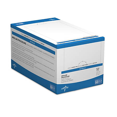 Medline Sterile Disposable Powder-Free Nitrile Exam Glove Pairs, Large, Blue, Pack Of 200