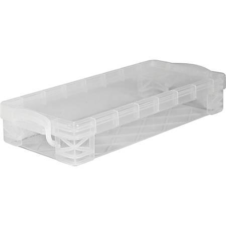 "Advantus Super Stacker Pencil Box - External Dimensions: 8.5"" Width x 4"" Depth x 1.6"" Height - Stackable - Plastic - Clear - For Marker, Pen/Pencil, Crayon - 1 Each"