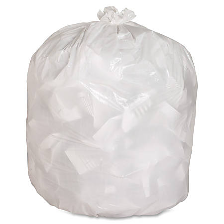 """Genuine Joe 75% Recycled Heavy-Duty Contractor Trash Bags, 13 Gallons, 24"""" x 31"""", White, Box Of 150"""