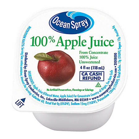 Ocean Spray Apple Juice, 4 Oz, Pack Of 48 Cups