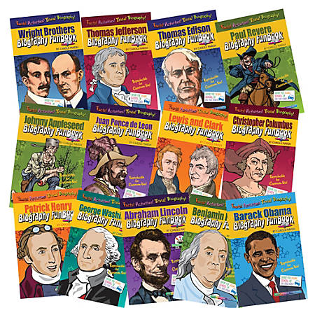 Gallopade Biography FunBooks Set, Presidents, Explorers and Inventions, Grade 1 - 5, Set Of 13 Books