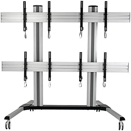"Tripp Lite Mobile Quad-Screen Video Wall - For Four 45"" to 55"" TVs and Monitors, Heavy Duty - Up to 55"" Screen Support - 528 lb Load Capacity - 67.7"" Height x 32.9"" Width x 27.6"" Depth - Floor - Steel, Aluminum - Black, Silver"