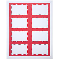 "Baumgartens® Easy Peel Self-Adhesive Visitor Badges, 2 5/16"" x 3 1/2"", Red/White, Case Of 200"