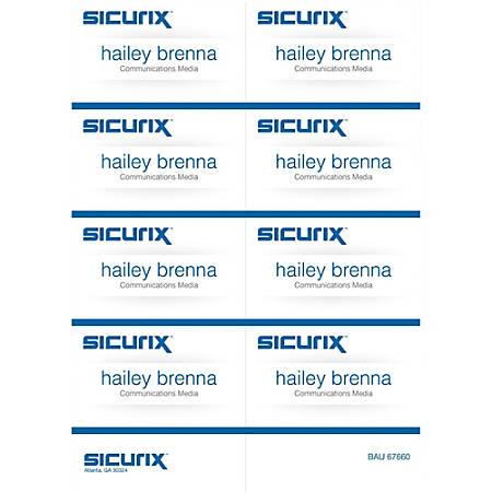 """Baumgartens® Sicurix Name Badge Kit Inserts, 2 1/4"""" x 3 1/2"""", White, Pack Of 56"""