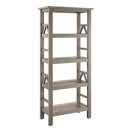 Linon Rockport 4-Shelf Bookcase, Driftwood