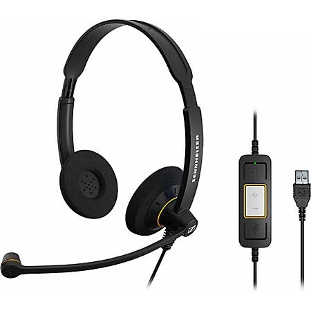 Sennheiser SC 60 USB ML Headset - Stereo - USB - Wired - 60 Hz - 16 kHz - Over-the-head - Binaural - Supra-aural - 6.89 ft Cable - Noise Cancelling Microphone - Black, Orange