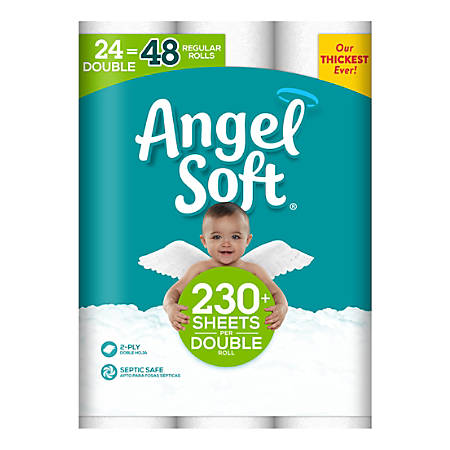 Angel Soft® Double 2-Ply Toilet Paper Rolls, 230 Sheets Per Roll, Classic White, Pack Of 24 Rolls