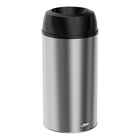 Suncast Commercial Accent Series Funnel-Top Stainless-Steel Indoor Trash Can, 15 Gallons, Silver