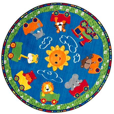 Flagship Carpets Cutie Train Rug, Round, 5', Multicolor
