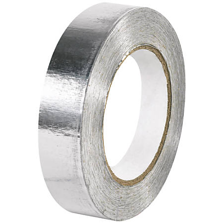 "B O X Packaging Industrial Aluminum Foil Tape, 3"" Core, 1"" x 60 Yd., Silver, Case Of 36"