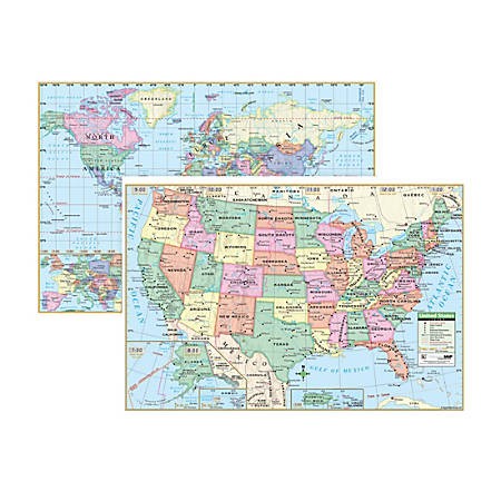 """Kappa Map Group U.S. And World Wall Maps, 28"""" x 40"""", Pack Of 3"""