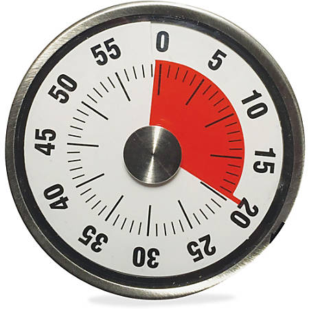 "Ashley 3"" Windup Timer - Desktop - For Testing, Game, Classroom - Silver, Black"