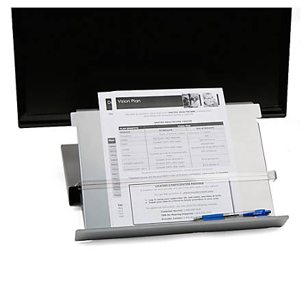 """Mind Reader Metal Monitor Stand Riser With Resting Document Holder Easel, 2 3/8""""H x 15""""W x 10 5/8""""D, Silver"""