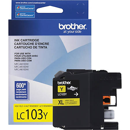 Brother Genuine Innobella LC103Y High Yield Yellow Ink Cartridge - Inkjet - High Yield - 600 Pages - Yellow - 1 Each