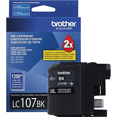 Brother Genuine Innobella LC107BK Super High Yield Black Ink Cartridge - Inkjet - High Yield - 1200 Pages - Black - 1 Each