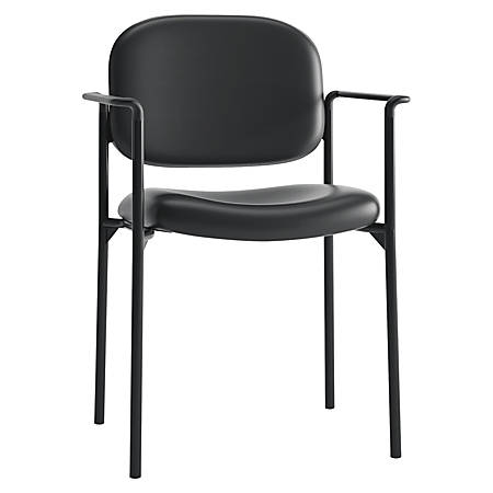 HON Scatter Stacking Guest Chair, Fixed Arms, SofThread Leather, Black