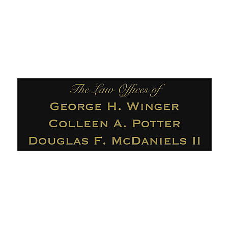 """Engraved Brass Sign, 3"""" x 8"""""""
