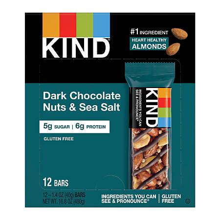 KIND Dark Chocolate Nuts & Sea Salt Bars, Box Of 12