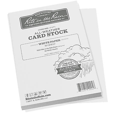 "Rite In The Rain All-Weather Card Stock, 5"" x 7"", White, 80 Sheets Per Ream"