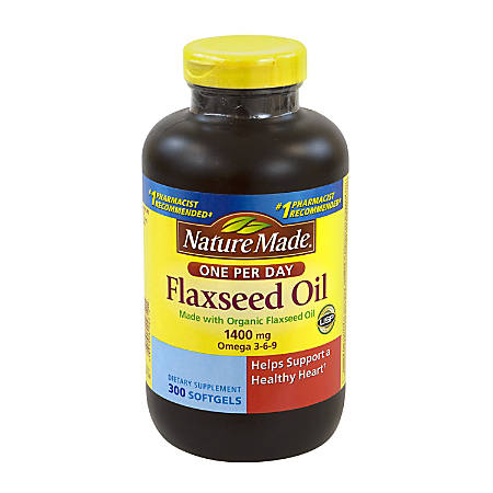 Nature Made Flaxseed Oil Softgels, 1,400 mg, Pack Of 300