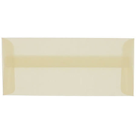 "JAM Paper® Translucent Business Booklet Envelopes With Gummed Closure, #10, 4 1/8"" x 9 1/2"", Spring Ochre Ivory, Pack Of 25"