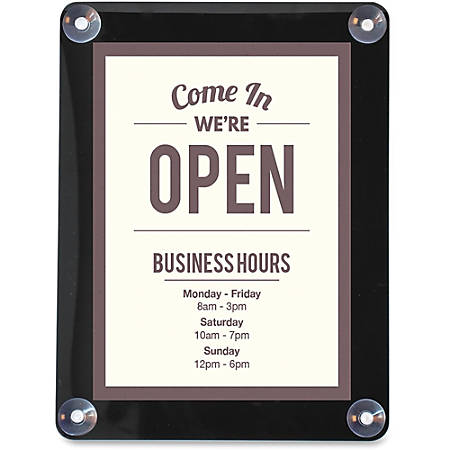 "deflecto Double-sided Window Display Sign - 1 Each - Come in, we're open Print/Message - 8.5"" Width x 11"" Height - Rectangular Shape - UV Resistant, Heat Resistant, Double-sided - Clear"