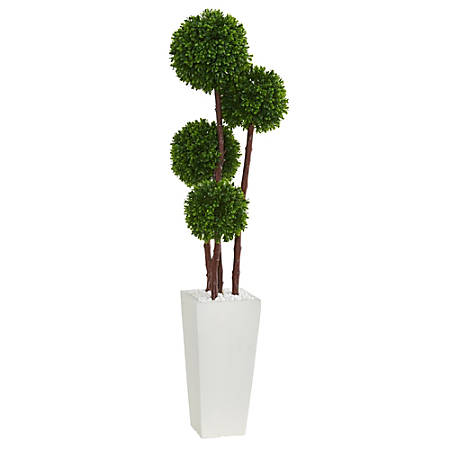 Nearly Natural 4'H Artificial Boxwood Topiary Tree in Planter, Green