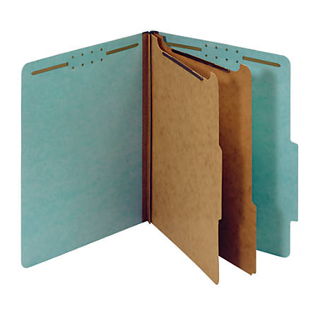 "Office Depot® Brand Pressboard Classification Folders, 2 1/2"" Expansion, Letter Size, Blue, Pack Of 10"