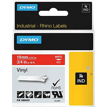 """DYMO® Colored 3/4"""" Vinyl Label Tape, DYM1805422, Permanent Adhesive, 3/4""""W x 18 3/64 ft Length, Rectangle, Thermal Transfer, Red/White"""