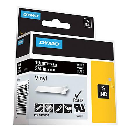"DYMO® Vinyl Label Tape, DYM1805436, Permanent Adhesive, 3/4""W x 18'L, Thermal Transfer, Black/White"