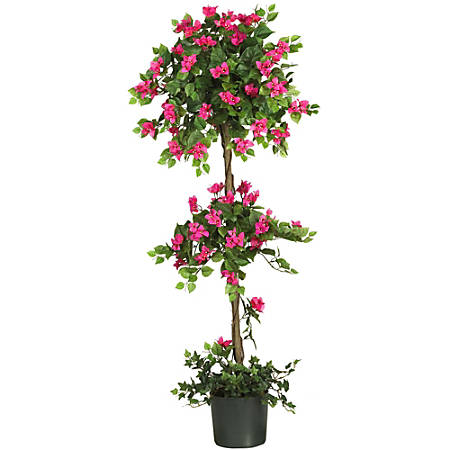 Nearly Natural 5'H Polyester Mini Bougainvillea Topiary With Planter, Green/Pastel