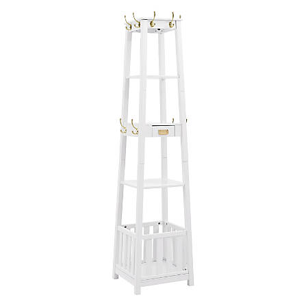"Linon Ari Pyramid Hall Tree, 73-5/8""H x 17""W x 17""D, White"