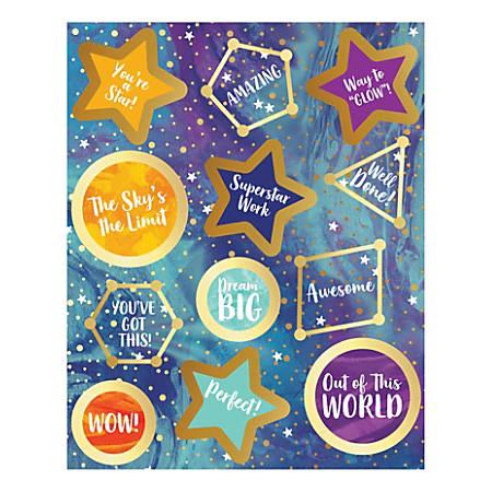 "Carson-Dellosa Galaxy Motivators Motivational Stickers, 5-5/8"" x 4-1/2"", Pack Of 72 Stickers"