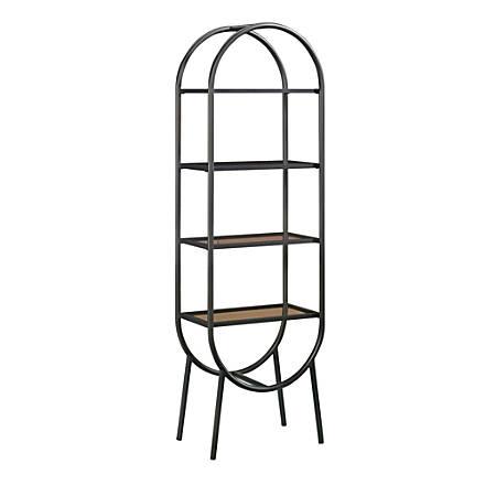 "Sauder® Boulevard Café 4-Shelf Bookcase, 70-1/16""H x 22""W x 13-7/16""D, Black/Amber"