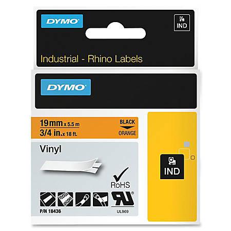 "Dymo Colored Industrial Rhino Vinyl Labels - 3/4"" Length - Black - Vinyl - 1 Each"