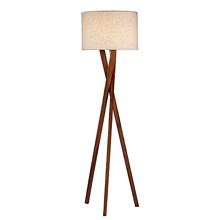 "Adesso® Brooklyn Floor Lamp, 63""H, White Shade/Walnut Base"