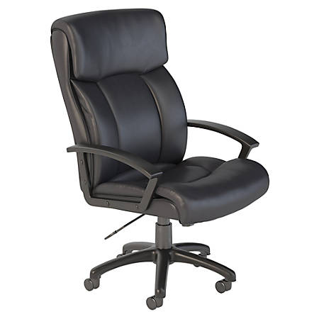 Bush Business Furniture Stanton Plus Mid Back Leather Office Chair, Black, Standard Delivery