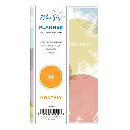 "Blue Sky™ PVC 18-Month Academic Planner, 3-5/8"" x 6-1/8"", Multicolor, July 2020 To December 2021, 119351"