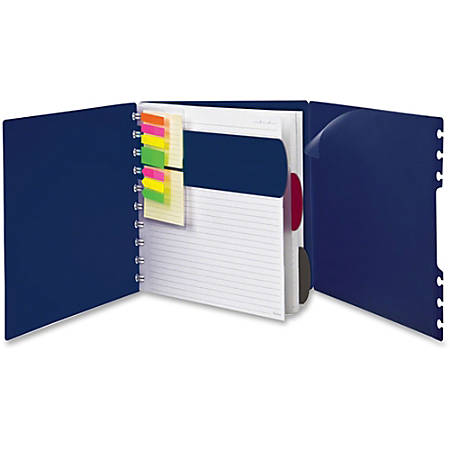 """TOPS Ampad Versa Crossover Notebook - Letter - 60 Sheets - Spiral - 24 lb Basis Weight - 8 1/2"""" x 11"""" - Navy Cover - Poly Cover - Repositionable, Pocket, Micro Perforated - 1Each"""