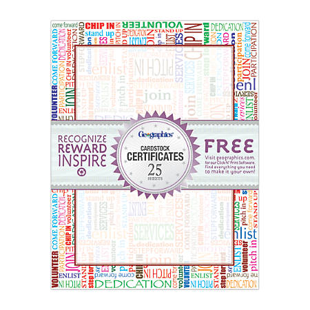 """Geographics® Certificates, 8 1/2"""" x 11"""", Colorful Words, Pack Of 25"""