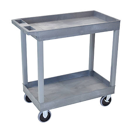 "Luxor E-Series 2-Shelf Tub Cart, 35 1/4""H x 32""W x 18""D, Gray"