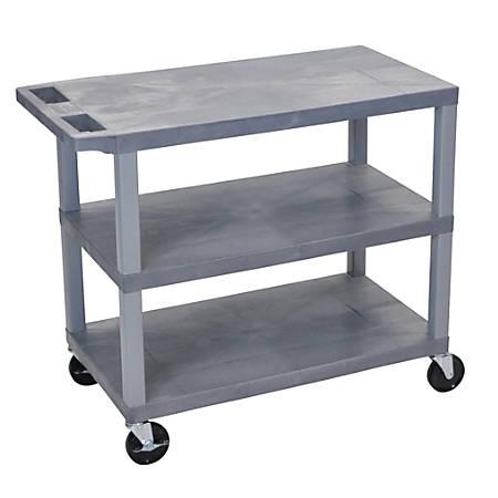 "Luxor E-Series Plastic Cart, 3-Shelves, 36 1/4""H x 35 1/4""W x 18""D, Gray"
