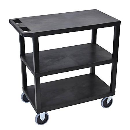 "Luxor E-Series Plastic Cart, 3-Shelves, Heavy Duty, 36 1/4""H x 35 1/4""W x 18""D, Black"