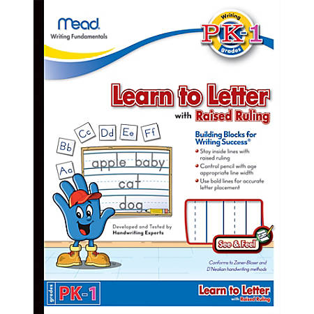 "Mead® Academie Jr.™ See 'n Feel Learn To Letter Writing Tablet, 10"" x 8"", 40 Sheets"