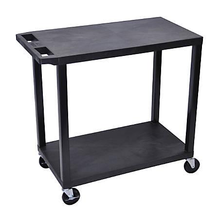 "Luxor E-Series Plastic Cart, 2-Shelves, 35 1/4""H x 32""W x 18""D, Black"